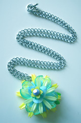 Green and Blue Vintage Flowers Necklace
