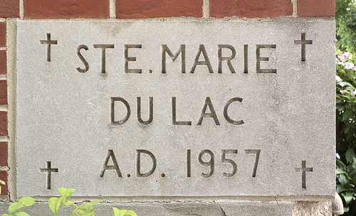 Sainte Marie du Lac Roman Catholic Church, in Ironton, Missouri, USA - cornerstone