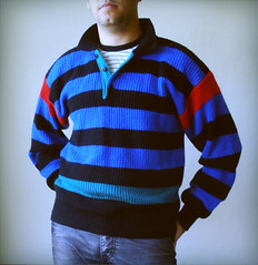 Stripes (kitschcafe) Tags: blue ohio red green fashion modern vintage fun sweater cool midwest buttons stripes hipster knit drew kitsch thrift 80s mens etsy collar 1980s unisex bohemian pullover knitwear womensfashion dreworama kitschcafe dreworamacom kitschwear