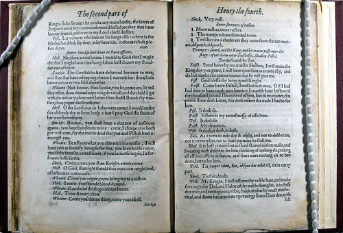 Double page opening from Shakespeare's 'Henry Fourth Part Two'.