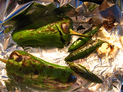 roasted green peppers and jalapenos