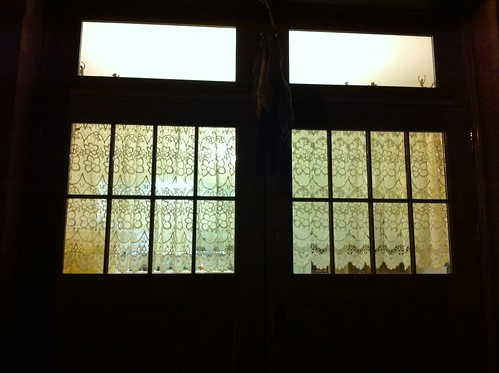 lace curtains at old police station (now luxury condo)