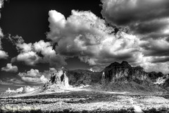 The Superstitions_DSC8425 (PhotographyBySaija) Tags: arizona bw mountains nature landscape cloudscape lostdutchman superstitionmountains mywinners blinkagain