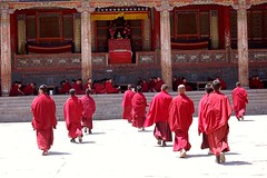 gathering (Maggie's World ...) Tags: china sun ceremony tibetan qinghai monasteries noonday taersi flickrsbest youngmonks