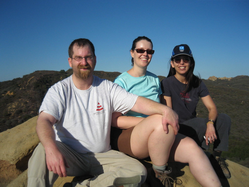 Tired but triumphant. On top of Eagle Rock in Topanga State Park. John Mark Schofield, Kate S., and Debbie I.