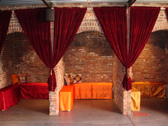 October Wedding (The Foundry L.I.C.) Tags: fabric benches archways decor thefoundry draping tourbook alcoves thefoundryinterior foundrybench thefoundrylic