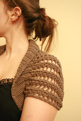 ribbed lace bolero (kelly   m) Tags: knitting lace knit fo shrug taupe bolero cottonease