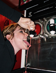 Sandra And The Slurpee (Rob Boudon) Tags: red tongue movie theater yum lick slurpee movietheater icee squishee actiongirl sandrasoroka sandraesoroka