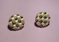 checkerboard button earrings
