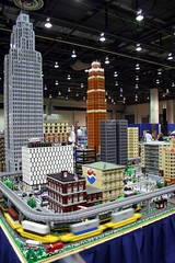 Downtown Detroit in Lego (slambo_42) Tags: tower mi skyscraper model lego michigan sears detroit trains explore national convention penobscot 2007 nmra davidscott