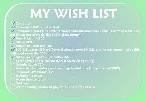 My most recent WISH LIST
