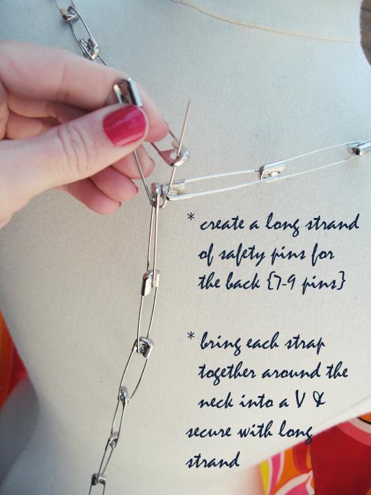 silk scarf DIY safety pin top -7