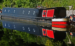 A 'Lippy' Barge :-) (alphazeta) Tags: red white black water reflections canal barge westmidlands solihull grandunioncanal knowle canalriverbarge