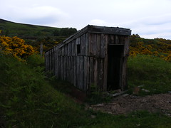 Old Railway Building 2 (mouldkevin) Tags: old sky mountains building clouds fence way scotland highlands cloudy tracks railway disused moray spey forres grantownonspey divie grantown dunphail thedavaway