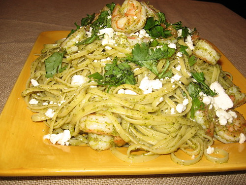 Pasta With Shrimp and Cilantro-Lime Pesto 007