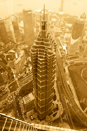 Jin Mao Tower as viewed from the observation level of the Shanghai World Financial Center