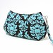 PLEATED WRISTLET PURSE BAG Michael Miller Dandy Damask in Spa Blue Brown
