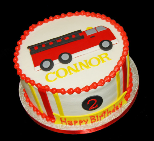 fire truck 2nd birthday cake