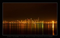 Sleep or not to Sleep ( Seattle Night ) (:: Igor Borisenko Photography ::) Tags: seattle beach water skyline reflections d50 golden nikon bravo long exposure downtown quality nikond50 best alki allrightsreserved highquality interestingness4 superaplus aplusphoto igorb81 bratanesque igorborisenkophotography