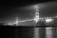 GGB in B&W (Tyler Westcott) Tags: sanfrancisco california longexposure blackandwhite bw reflection fog night marina explore goldengatebridge fortbaker nikond40