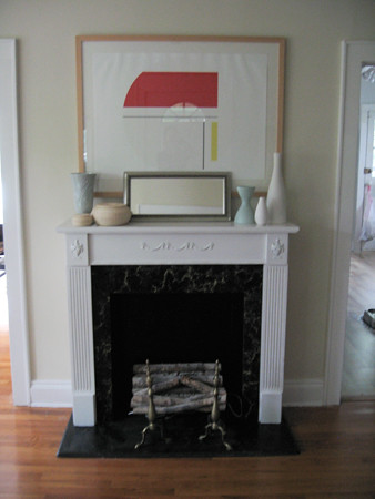 fireplace after paint closeup