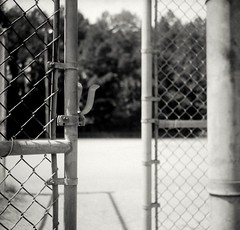 Ballpark Gate (WadeB) Tags: bw ga fence square diy gate baseball kodak trix lofi medium marietta agfa toned ballpark endofseason isola endofsummer 320txp