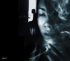 The Movie In My Mind (Tomasito.!) Tags: blue light boy shadow woman man reflection art girl face silhouette lady photoshop silver dark hair movie hotel artwork chair nikon moody darkness metallic cigarette smoke philippines grain dream cyan dramatic surreal manipulation shades smoking manila dreamy cinematic drapes cs4 d90 nikond90 movieinmymind goodbyeproaccount