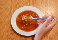 s.o.u.p. (little.lions) Tags: wood red white chicken silver project tomato table soup hand letters spoon bowl peas abc carrots 365 alphabet samsmiles