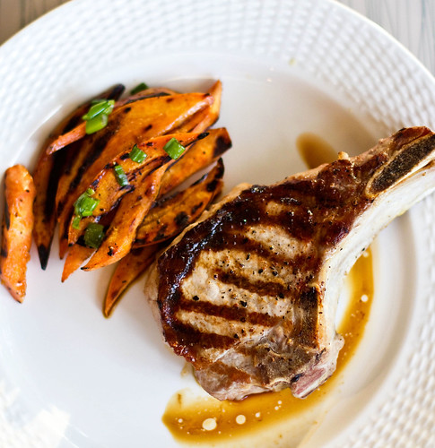 Grilled Pork Chops with Maple Syrup Sweet Potatoes