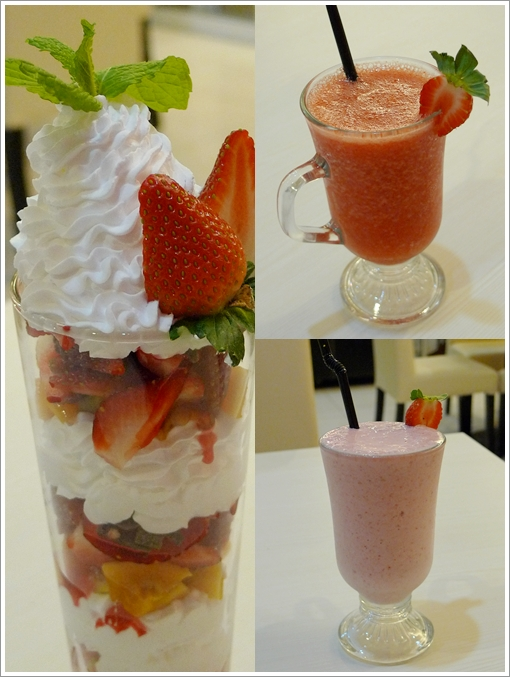 Strawberry Parfait, Milkshake, Juice