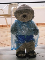 Sometimes it rains in Paradise (pefkosmad) Tags: bear blue vacation holiday ted cute rain weather hotel teddy balcony greece plasticbag teddybear plushie raining greekislands pefkos improvised studmuffin rhodes 2010 stuckinside dodecanese rodhos rainmac tedricstudmuffin
