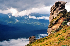 The Guardian (Daniel Murray (southnz)) Tags: newzealand cloud mountain rock trekking landscape nationalpark scenery hiking hill nz southisland tor tussock tramping fiordland subalpine humpridgetrack southnz eos50escanfromprint