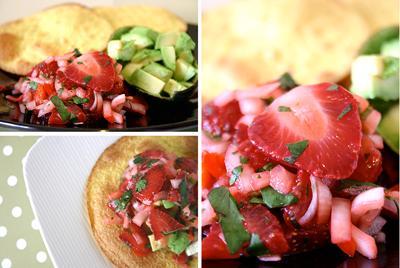 Avocado with Strawberry Salsa on Crispy Tortillas