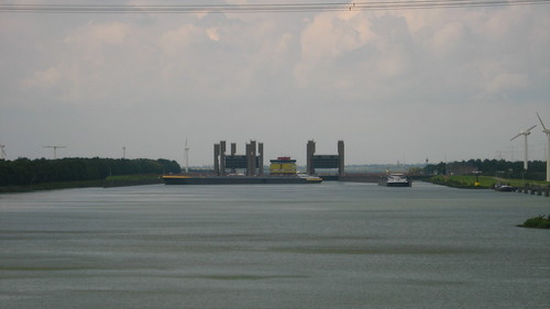 Huge lock seen from the Zeeland Road bridge in The Netherlands