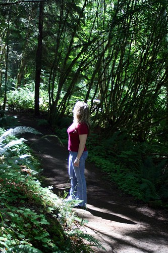 Exploring a short hiking trail at a rest stop in Oregon.