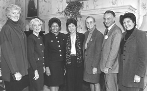 From left to right: Mary Patterson McPherson, President of Bryn Mawr College; Linda S. Wilson, President of Radcliffe College; Ruth J. Simmons, President of Smith College; Diana Chapman Walsh, President of Wellesley College; Frances Daly Ferguson, President of Vassar College; Peter Berek, Acting President of Mount Holyoke College; and Judith R. Shapiro, President of Barnard College at the 1995 meetiing of the conference.
