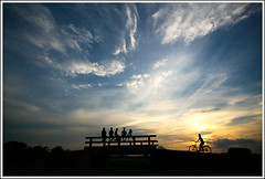 The Answer [..Chuadanga, Bangladesh..] (Catch the dream) Tags: bridge blue sunset sky people bicycle silhouette clouds rural myself children landscape village horizon rustic wide bangladesh answer humans vastness whoami chuadanga shilhoutte silhutte ailhash gettyimagesbangladeshq2
