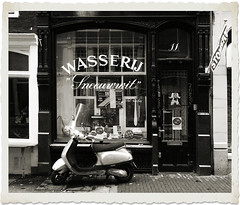 Dry Cleaning, Snow-white (Amsterdam Today) Tags: bw white black art window amsterdam shop lumix store snowy 10 main capital dry scooter front full cleaning wash laundry winkel service moped laundromat zwart wit mokum scrub centrum morpheus lmc dz brommer stomerij fullservice panasonix sneeuwwit wasserij schaagen lmcdz10