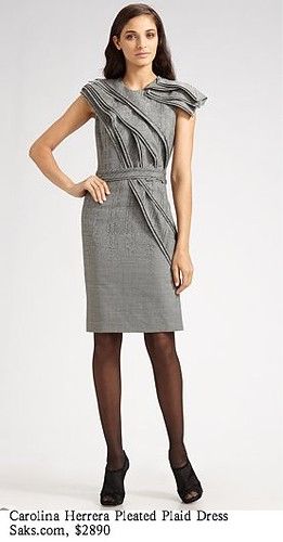 Saks.com - Carolina Herrera - Pleated Plaid Dress-1