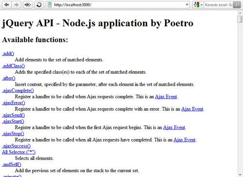 jQuery API index oldal