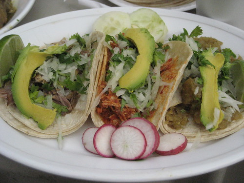 Pork, chicken and chicharron tacos