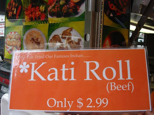 "Signs for the new ""Kati Roll"" Cart, Midtown NYC"