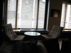 koskinen's chairs (blind_donkey) Tags: street city urban brown window finland hotel design helsinki chairs furniture launch interiordesign koskinen helka
