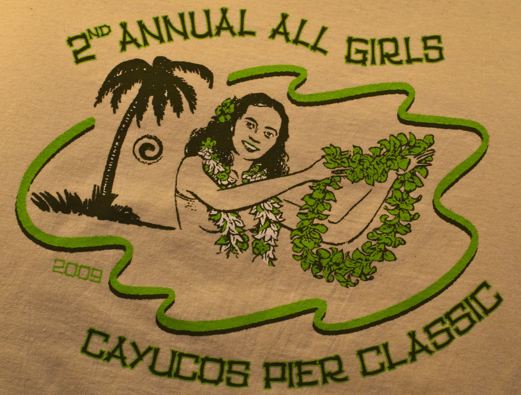 Promotional T-shirt.  Women, Girls, Surfers and Surfing, at the 2nd Annual All Girls Cayucos Pier Classic surf contest, Cayucos, CA, 07 March 2009