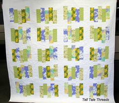 Autumn Meadows quilt (tell tale threads) Tags: green yellow purple autumnmeadow whitesashing stackedstrips
