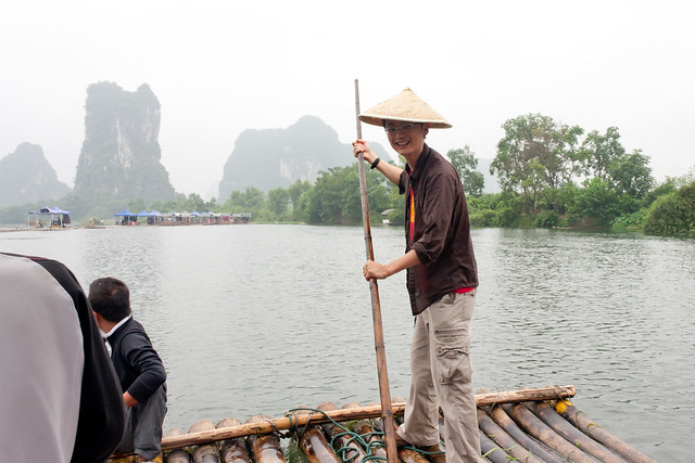 Me pretending to punt in Yangshuo