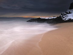 High Tide (Mike Cumming) Tags: winter sunset sea snow water high sand rocks slow tide gloaming