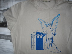 T-shirt with stenciled angel