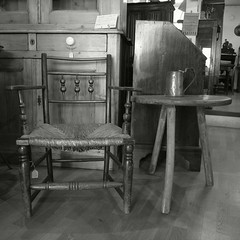 old arm chair & table (murot) Tags: old chair rushseat
