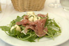 Roquette Salad with Mozzarella and Cured Ham @ La Salamandre - by Vincent Ma